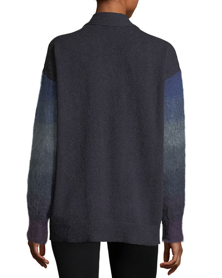 3-Button Shaded Mohair and Cashmere Cardigan