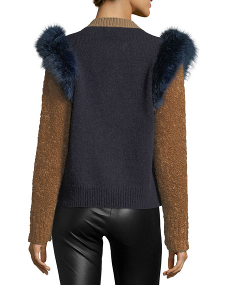 Colorblock Sweater with Fox Fur Trim