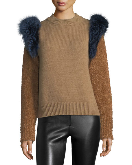 Agnona Colorblock Sweater with Fox Fur Trim