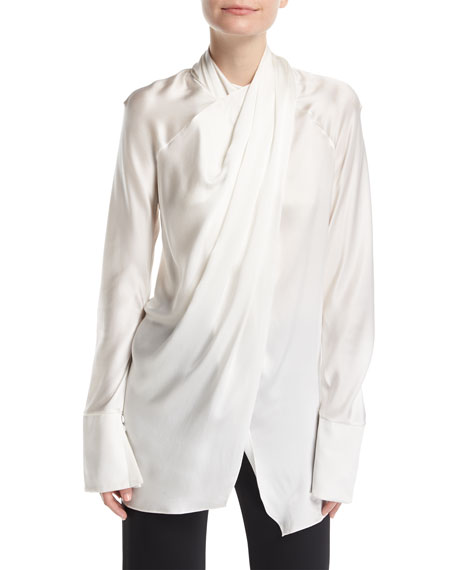Draped Silk Crossover-Neck Blouse
