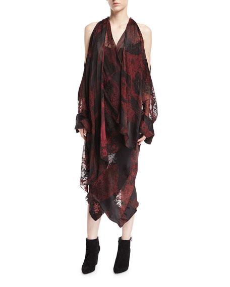 Devore Velvet Cold-Shoulder Draped Midi Dress