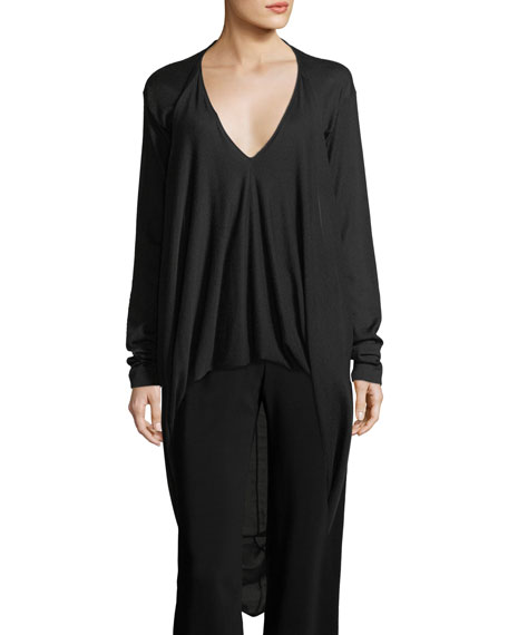 Cashmere High-Low Blouson Sweater