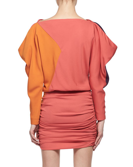 Colorblock Blouson Fitted Minidress