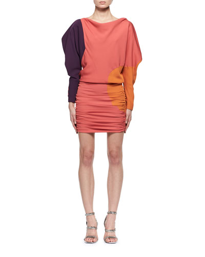 Colorblock Blouson Fitted Minidress