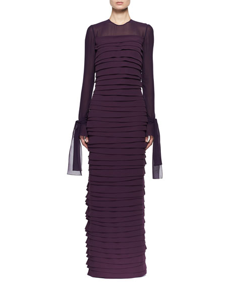 Long-Sleeve Pleated Chiffon Gown