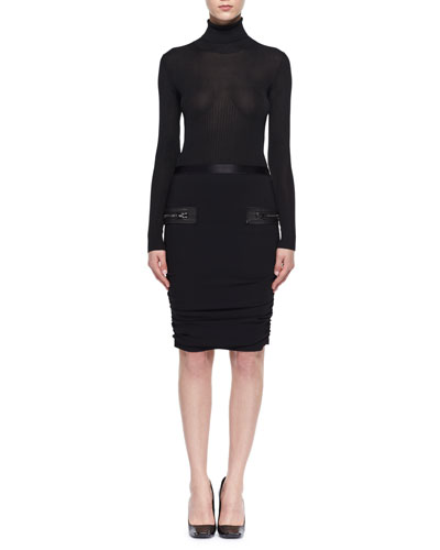 Leather-Trim Shirred Pencil Skirt