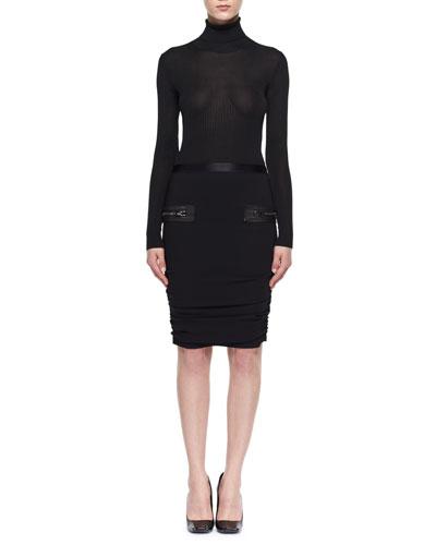 Leather-Trim Shirred Pencil Skirt