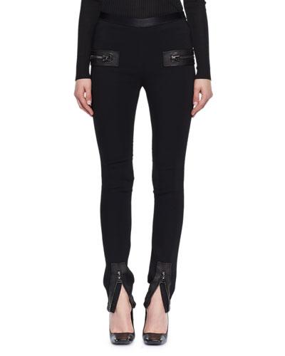 Jersey Zip-Trim Skinny Pants