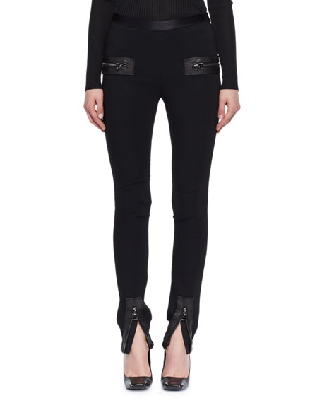 TOM FORD Jersey Zip-Trim Skinny Pants