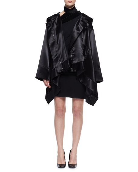 Oversized Satin Cape Coat