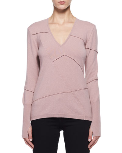 Patchwork-Seamed Cashmere V-Neck Sweater