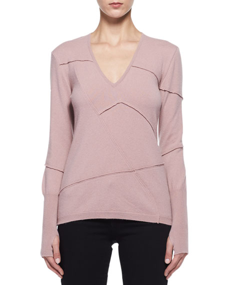 Patchwork-Seamed Cashmere V-Neck Sweater