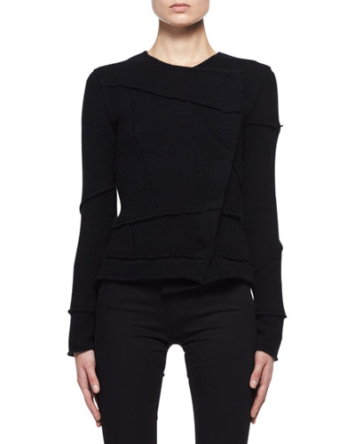 Patchwork-Seamed Cashmere Sweater