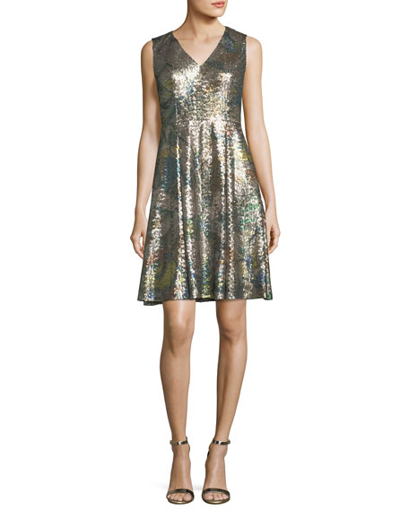 Carolina Herrera Sleeveless Sequined Magnolia Dress