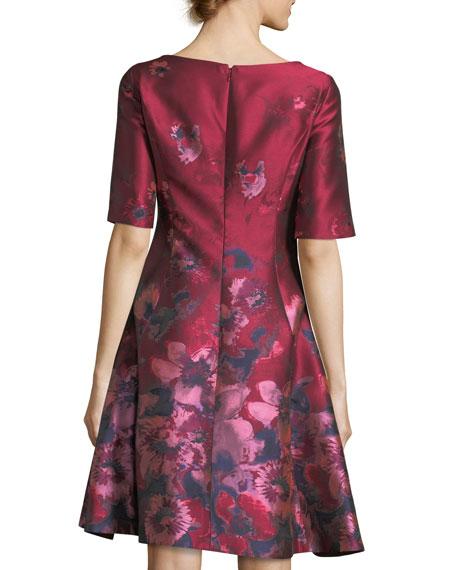V-Neck Elbow-Sleeve Floral-Jacquard Dress