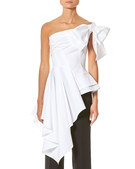 Carolina Herrera One-Shoulder Cascading Blouse