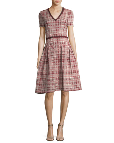 Tweed V-Neck A-Line Dress