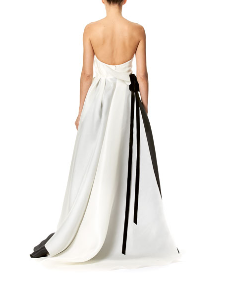 Strapless Two-Tone Faille Ball Gown