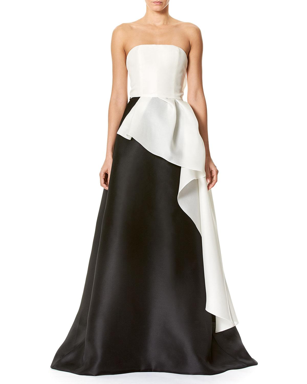 Carolina Herrera Strapless Two-Tone Faille Ball Gown   Neiman Marcus