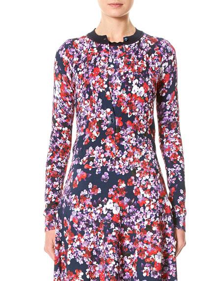 Carolina Herrera Pansy-Print Cardigan Sweater
