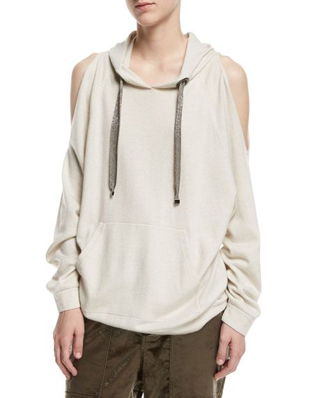 Brunello Cucinelli Cold-Shoulder Cashmere Hoodie with Monili