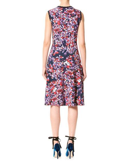 Sleeveless Pansy-Print Day Dress