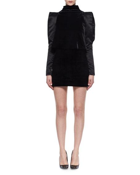 Velvet Satin-Sleeve Minidress