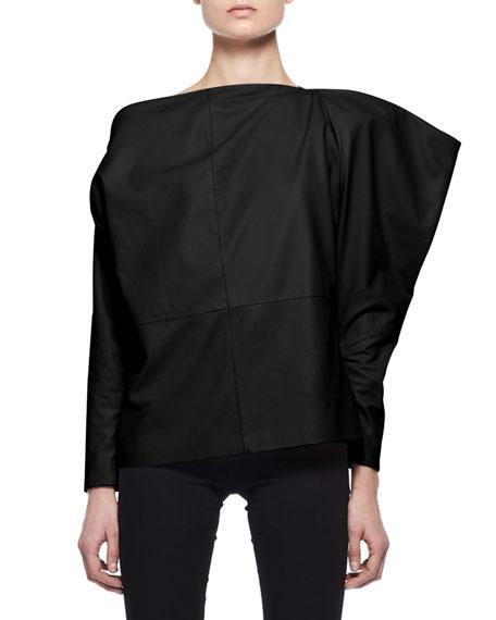 Leather Off-Shoulder Top