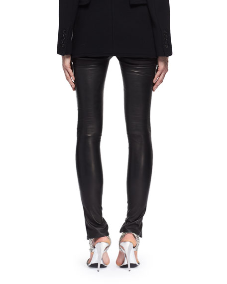 Leather Zip-Cuff Pants