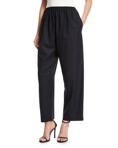 Japanese Wide-Leg Cropped Trousers, Navy