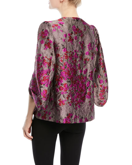 Metallic-Jacquard Kimono-Sleeve Snap-Front Jacket