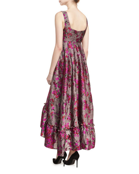 Metallic Floral Jacquard High-Low Dress