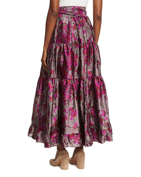 Floral Metallic Jacquard Maxi Skirt