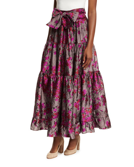 Co Floral Metallic Jacquard Maxi Skirt and Matching