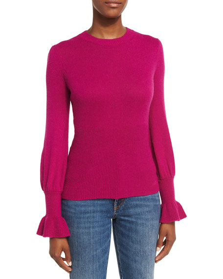 Co Ribbed Ruffle-Cuff Sweater