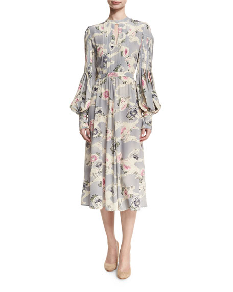 Mum-Print Silk Bishop-Sleeve Keyhole Midi Dress
