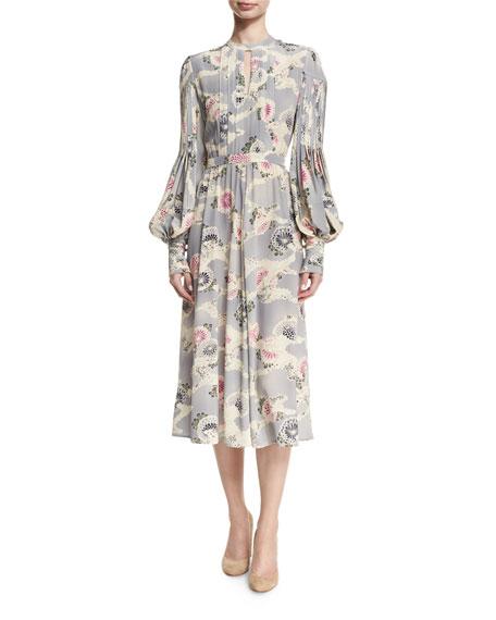 Co Mum-Print Silk Bishop-Sleeve Keyhole Midi Dress