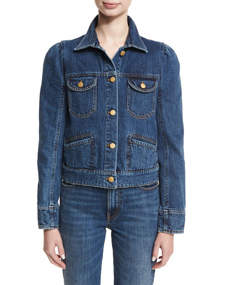 Co Puff-Shoulder Jean Jacket