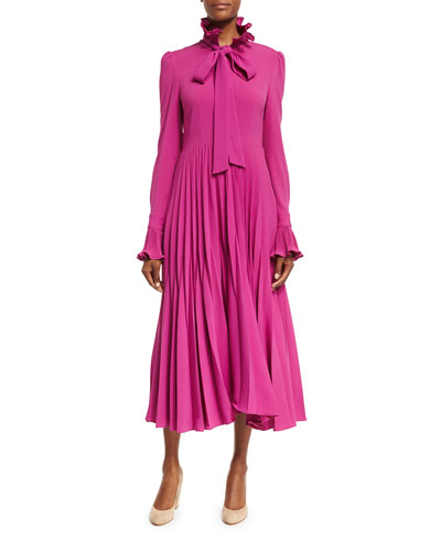 Reverse-Pleated Necktie Midi Dress, Magenta