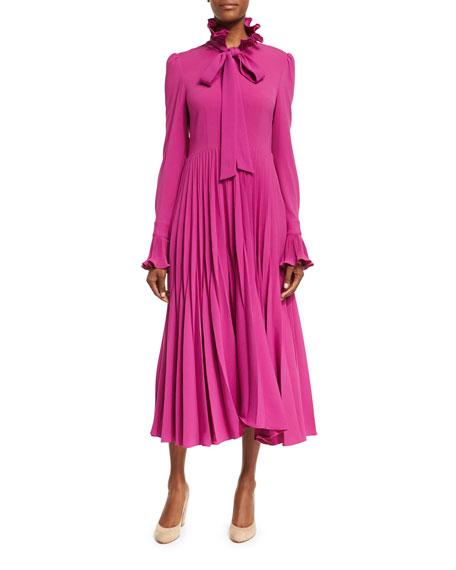 Co Reverse-Pleated Necktie Midi Dress, Magenta