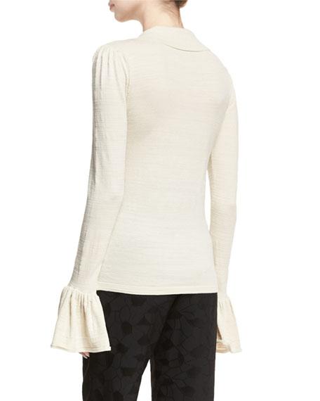 Bell-Sleeve Silk-Blend Polo