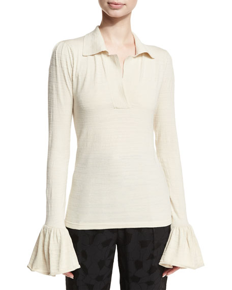 Bell-Sleeve Silk-Blend Polo