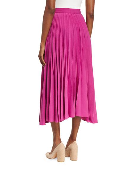 Reverse-Pleated Midi Skirt