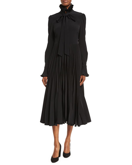Co Reverse-Pleated Necktie Midi Dress, Black