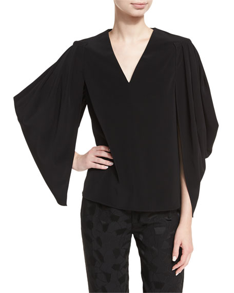 Co Stretch-Crepe Cocoon-Sleeve Top