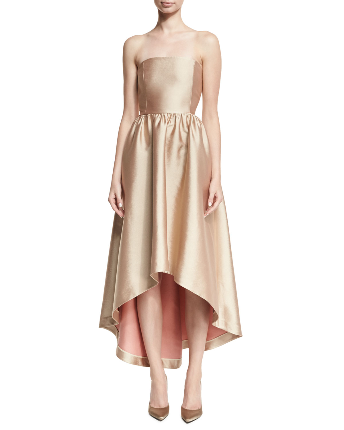 Co Strapless Satin High-Low Cocktail Dress | Neiman Marcus