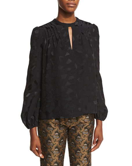 Co Mosaic Jacquard Peasant Top