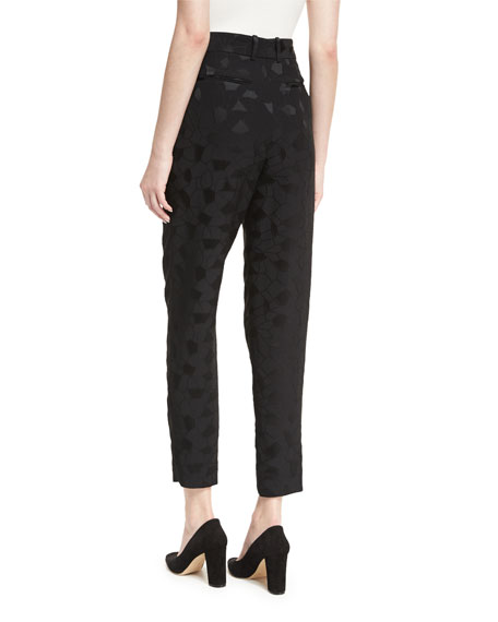 Mosaic Jacquard Pleat-Front Ankle Pants