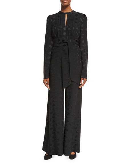 Co Mosaic Jacquard Wide-Leg Jumpsuit