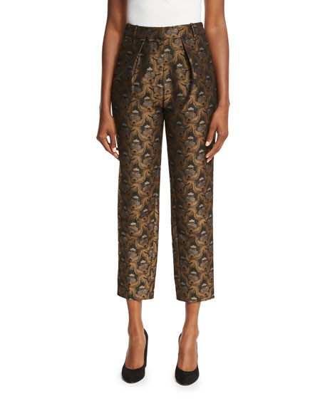 Co Brocade Pleat-Front Ankle Pants